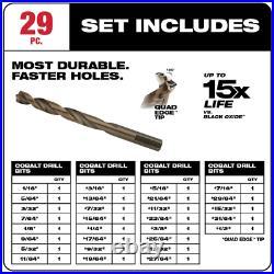 Milwaukee Twist Drill Bit Cobalt 3-Flat Shank For Drill Drivers (29-Piece)