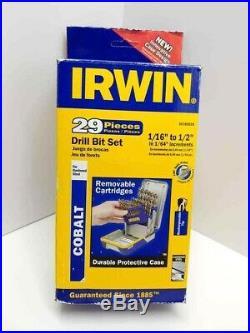 NEW Irwin 29 Piece Cobalt Drill Bit Set 3018002B 1/16 To 1/2 NIB