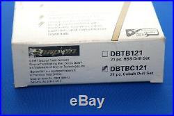 NEW Snap-On 21 Piece Cobalt ThunderBit 135° Split Point Drill Bit Set DBTBC121