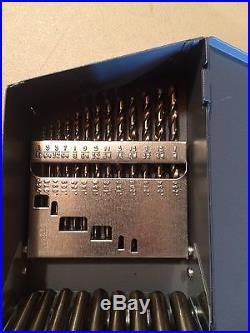 New 29 Pc. Set Of Cobalt Precision Twist Drill Bits 135 Split Pt. In Metal Box