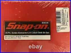 New! Snap-on USA EXD35 35 Piece Screw Extractor/LH Cobalt Drill Bit Set in Case