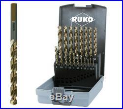 RUKO 19pcs Cobalt Drill Bit Set 1-10mm 3-Surface-Shank HSS-Co5 MADE IN GERMANY