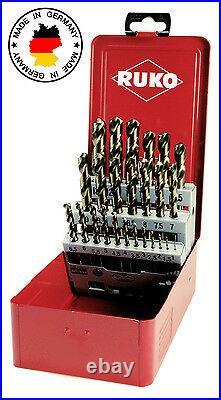 RUKO 25pcs. Cobalt Drill Bit Set, HSSE-Co5, 1-13mm, HIGH QUALITY Made in Germany