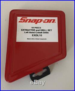 SNAP ON 10 piece Broken Bolt Extractor Set Inc LEFT HANDED Cobalt Drills EXDL10
