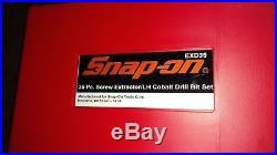 SNAP-ON 35 Pc. Screw Extractor/LH Cobalt Drill Bit Set EXD35 NEW
