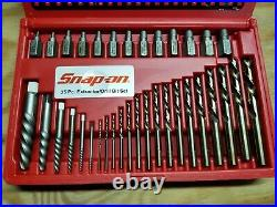 SNAP-ON 35 Pc. Screw Extractor/LH Cobalt Drill Bit Set New In Box