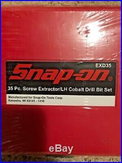 SNAP-ON EXD35 35 pc screw EXTRACTOR/LH Cobalt Drill bit SET