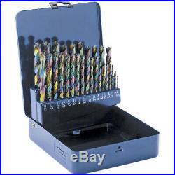 Shop Fox D2140 1/16 Inch 1/2 Inch Cobalt Alloy Drill Bit Set with Case, 29pc