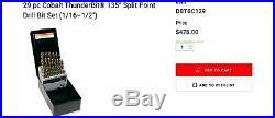 Snap On DBTBC129 29 pc Cobalt ThunderBit 135° Split Point Drill Bit Set 1/16-1/2