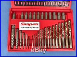 Snap-On EXD35 35Pc Screw Extractor/LH Cobalt Drill Bit Set 33 PIECES