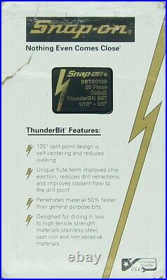 Snap on 29 pc Cobalt ThunderBit Drill Bit Set (1/161/2) DBTBC129 Brand New
