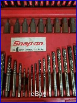 Snap-on 35 Piece Screw Extractor/LH Cobalt Drill Bit Set EXD35 In Case b-x