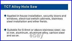 TCT Hole Saw Drill Bit Set Alloy Carbide Cobalt Steel Cutter SS Plate Iron Metal
