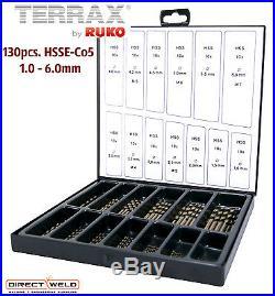TERRAX 130pcs. Cobalt Drill Bits Set, HSSE-Co5, 1.0 6.0mm
