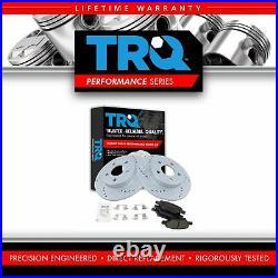 TRQ Rotor & Brake Pad Posi Ceramic Performance Drilled Slotted Rear Kit