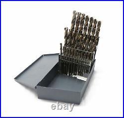 TopLine Drill Bit Set M42 Cobalt Fractional 1/16-1/2 29pcs Huot Index